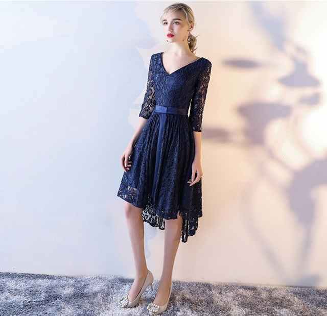 8df7e0461e3 Cute Dark Navy Lace Prom Dresses Sash High Low Prom Dress 2019 With Three  Quarter Sleeves