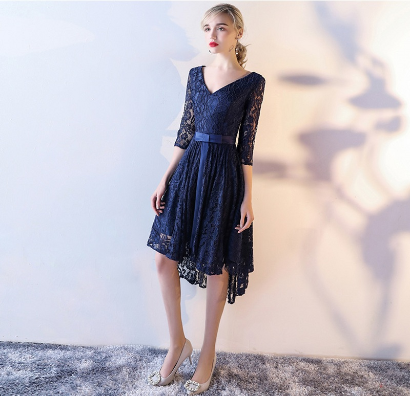 Cute Dark Navy Lace   Prom     Dresses   Sash High Low   Prom     Dress   2019 With Three Quarter Sleeves Homecoming   Dresses   Party Evening Gowns