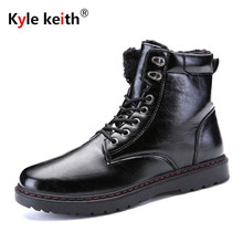 Kyle Keith Brand Keep Warm Men Winter Boots High Quality Pu Leather Sheep Fur Lace Up Casual Snow Boots