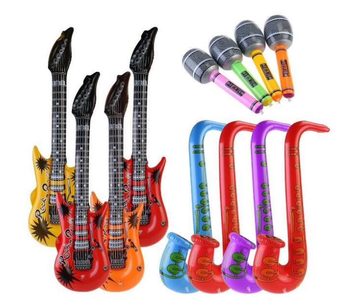 1pcs Fancy Instrument Inflatable Toys Guitar Microphone Radio Inflatable Keyboard Drum For Kids Carnival Party Beach Decoration