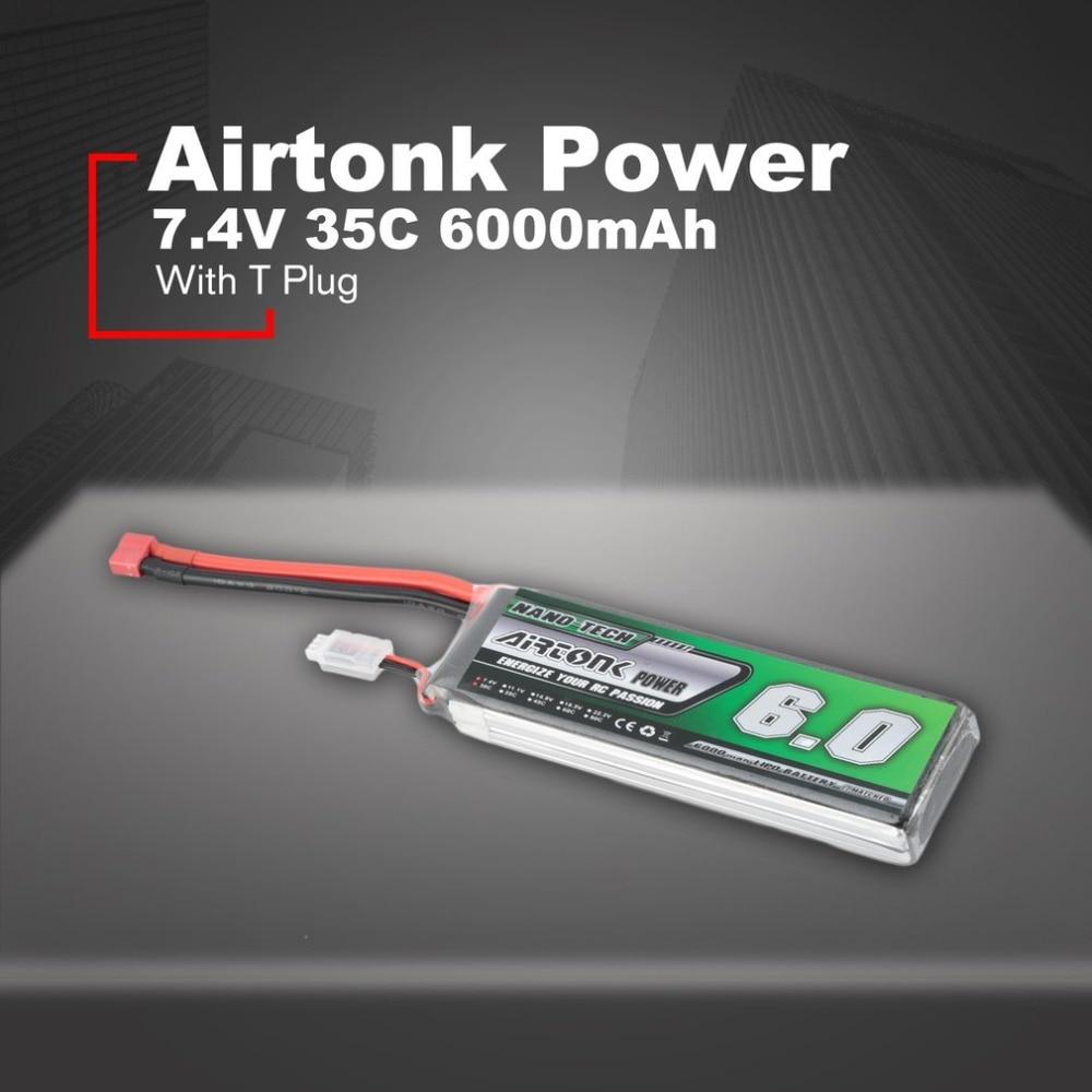Airtonk puissance 7.4 V 6000 mAh 35C 2 s 1 P Lipo batterie T Plug Rechargeable pour RC course Drone quadrirotor hélicoptère voiture bateau