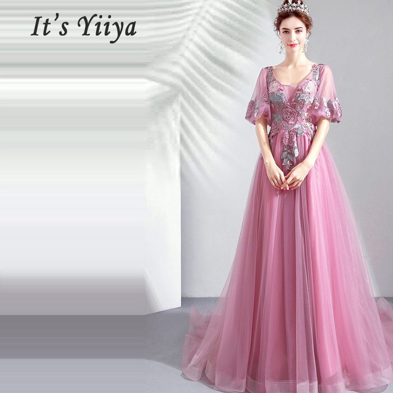 Prom Gowns V neck Short Sleeves Vestidos De Gala A Line Dresses Women Party Night Long Party Dress Custom Plus Size 2019 E244
