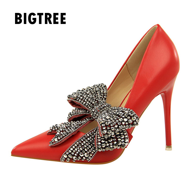 New 2019 Women pumps Luxury Rhinestones big butterfly-knot pointed toe Ladies  high heels Spring 9bbdd4a40c76