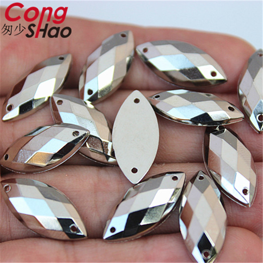 Cong shao 50 шт. 9*20 мм серебристо-белый камнями и кристаллами акрил массивный горный хрусталь отделкой flatback швейные 2 отверстия костюм ZZ734E