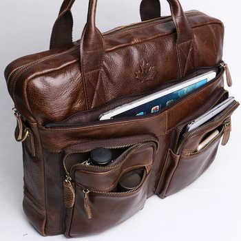 Men\'s Briefcase Tote Genuine leather men messenger bags travel laptop bag business Leather shoulder laptop bag men bag ZZNICK