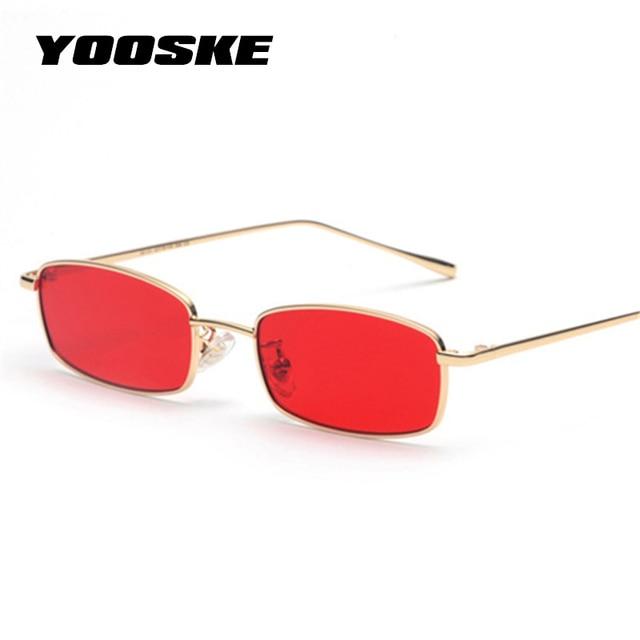 832d50f32655b YOOSKE de Metal das Mulheres Óculos De Sol Dos Homens Retro Quadrado  Pequeno Óculos de Sol
