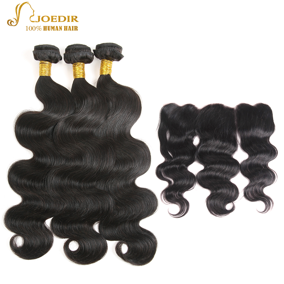 JOEDIR Hair 13x4 Ear To Ear Lace Frontal Closure With Bundles 3pcs Pre-Colored Indian Body Wave Non-Remy Human Hair Bundles ...