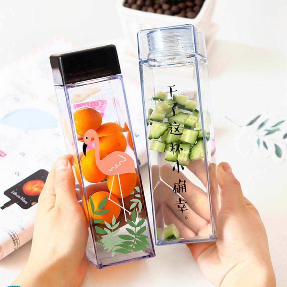 Ins Creative Square Plastic Water Bottle Cute Flamingo Printing Clear Bottle Useful Large Capacity Portable Water Drinkware
