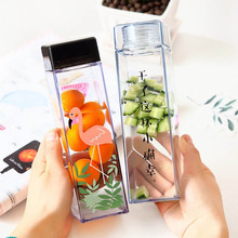 Ins Creative Square Plastic Water Bottle Cute Bird Printing Clear Useful Large Capacity Portable Drinkware