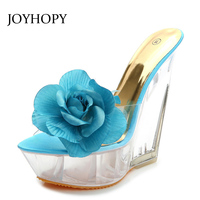 JOYHOPY Supper High Heel Sandals Women 2018 Transparent Heel Crystal Shoes Fashion Party Flatform Wedges Flower Sandals WS1674