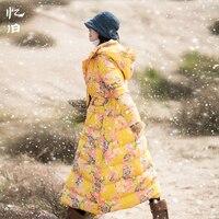 Yijiu 2017 Winter Print Flower Long Hooded Thick Warm Down Coats Female Vintage Linen Elastic Waist White Duck Down Overcoats