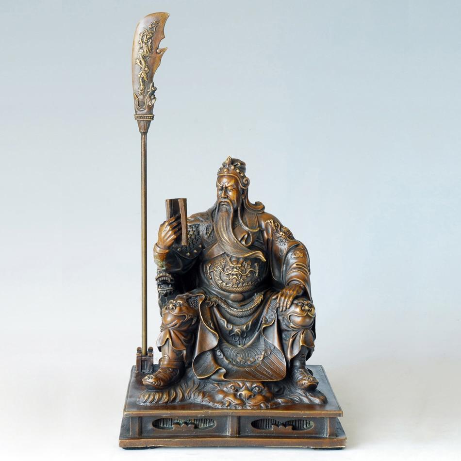 Sculpture de la Statue de GuanGong en Bronze antique chinois Kuan ti bodhisat