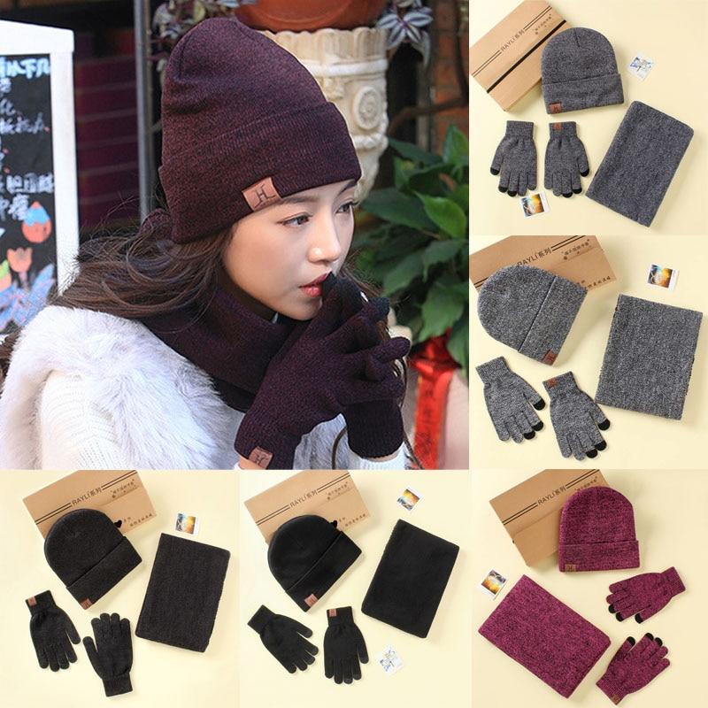 LNRRABC 3PCS/Set Winter Cotton Knitted Hats Scarves Gloves Solid Women Men Warm Elegant Scarves Set Accessories