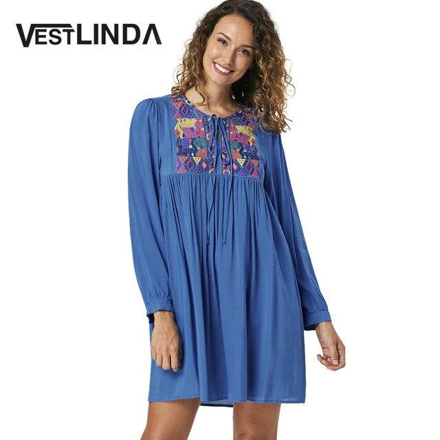 7525b06689 VESTLINDA Boho Style 2017 Long Sleeves Embroidered Yoke Ruffle Trim Striped Babydoll  Dress Embroidery Womens Fall Summer Dresses