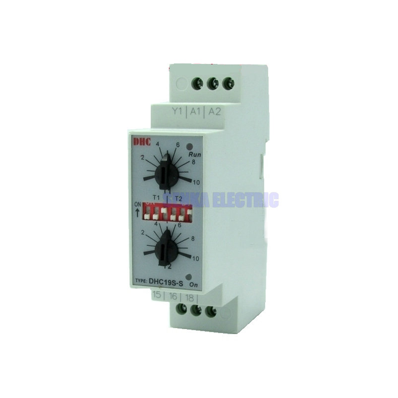 Double Set Repeat Cycle DIN Rail Mouting Time Relay AC/DC24-240V Input Timer DHC19S-S