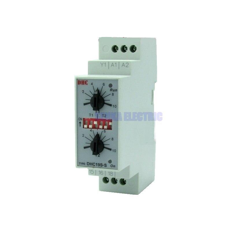 Двойной набор, повторный цикл, din рейка, реле времени, AC/DC24 240V, входной таймер, DHC19S S time relay repeat cyclerelay timer   АлиЭкспресс