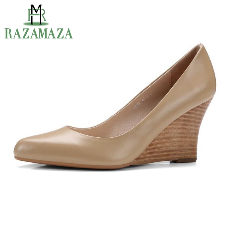 RAZAMAZA Size 34-39 Ladies  Real Leather High Heels Wedges Pumps Women Pointed Toe Slip On Shallow Shoes Women Office FootwearRAZAMAZA Size 34-39 Ladies  Real Leather High Heels Wedges Pumps Women Pointed Toe Slip On Shallow Shoes Women Office Footwear