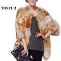 Fashion Genuine Fur Coat 100% Real Red Fox Fur Long Coat Female Trend Fox Fur Jacket women overcoat TONFUR  FP727