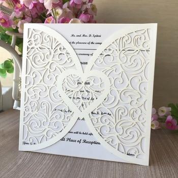 100pcs/lot Elegant Laser Cut Pearl Paper Wedding Card Invitations 2019 Birthday Party Decorations Banquet Supplies Gift Card