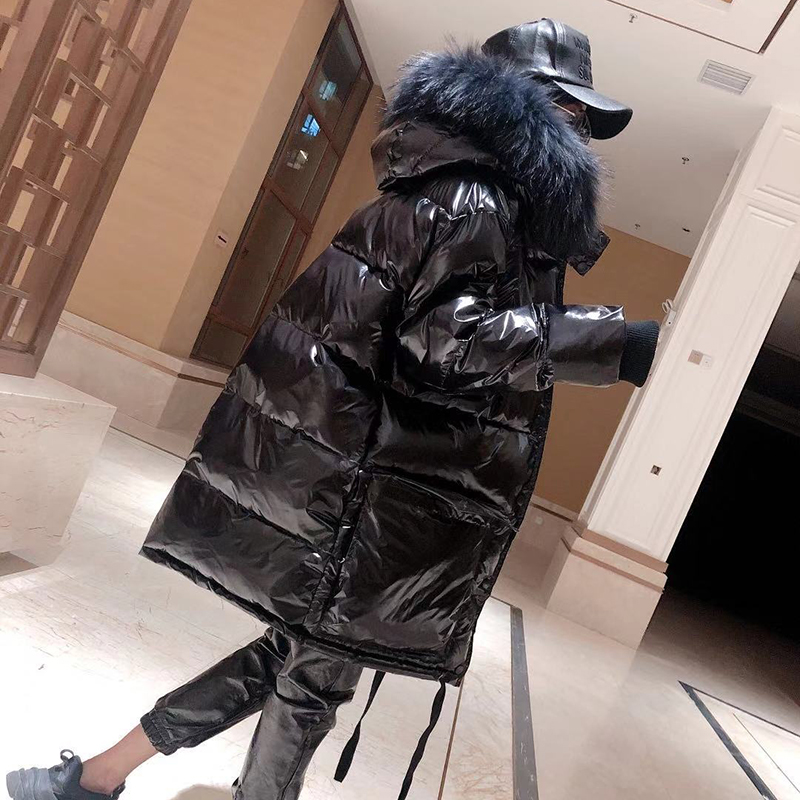 Glossy Waterproof Winter Coat Women   Parka   Jacket Natural Raccoon Fur Collar Hooded Cotton Jacket Thick Warm Down Jacket Coats
