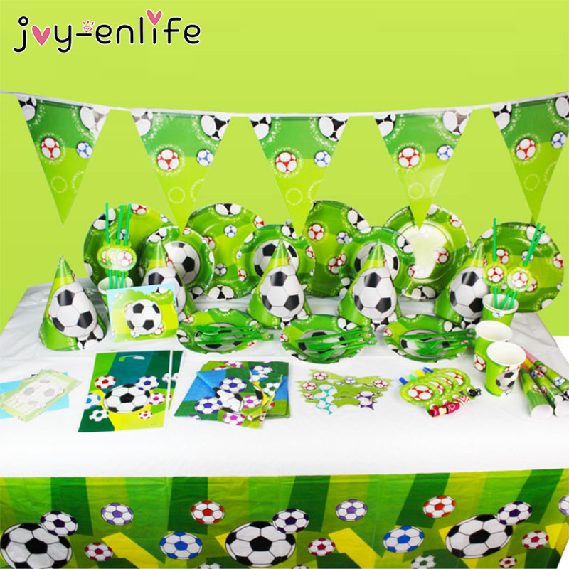 JOY-ENLIFE Kids Party Set Football Tableware Napkins Banner Birthday Party Decor Candy Gift Bag Invitation Card Party Supplies