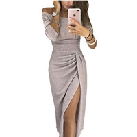2018 Autumn Women Fashion Sexy Elegant Bodycon Party Dresses Long Sleeve Knitte Shiny Off Shoulder Ruched Thigh Slit Dress