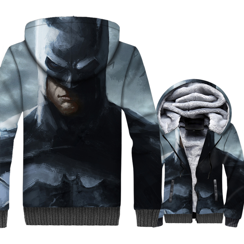 thick rib sleeve wool liner tracksuits novelty 3D printed hooded 2019 Batman Joker jackets coats men sweatshirt plus top clothes
