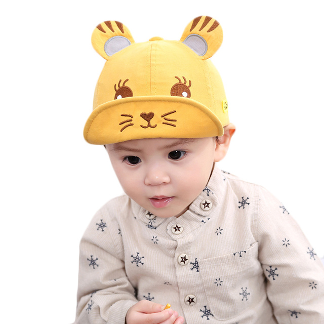 f82a9fcb4958a Spring Summer Children Cute Tiger Baseball Caps Baby Boys Casual Sun Hat  Cotton Baby Hats for