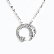 DreamySky Real Pure Silver Color Long Moon Necklaces For Wom