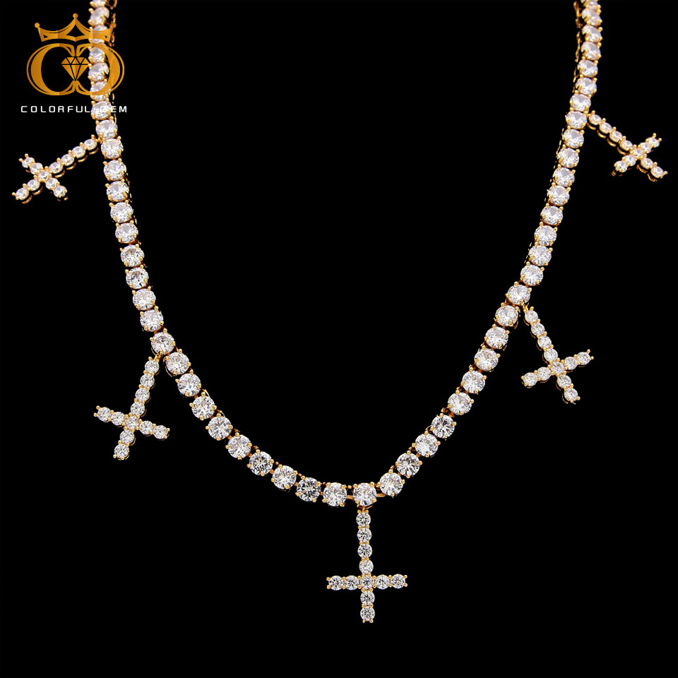 THE BLING KING Iced Out Cubic Zirconia 1 Row Tennis Chains With Cross Pendant Necklace Fashion For Men/Women Jewelry