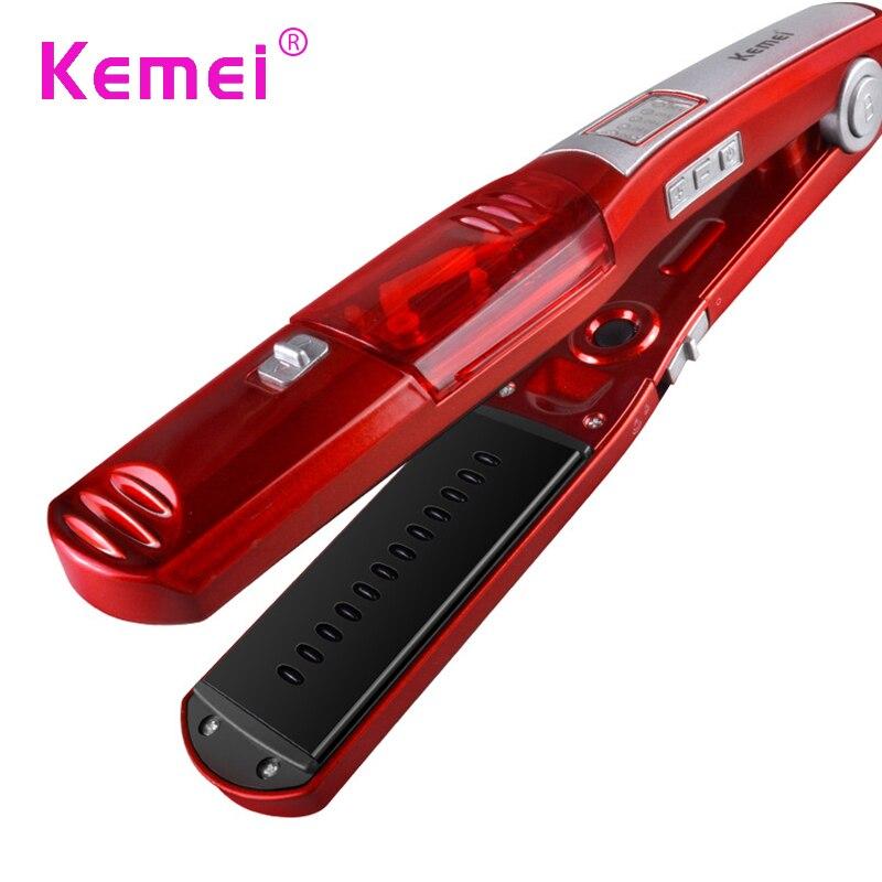KM3011 Kemei Automatic Straight Hair Brush Temperature Display Fast Hair Straightener Tools Steam Comb Straightening Hair Irons kemei km 173 led adjustable temperature ceramic electric tube hair curler