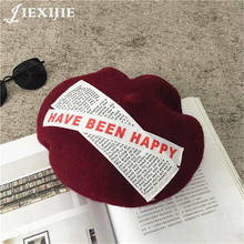 Women Korean Style letters stickers painted head Beret Hat  French Artist wool Beanie Autumn Spring Winter Punk Hats