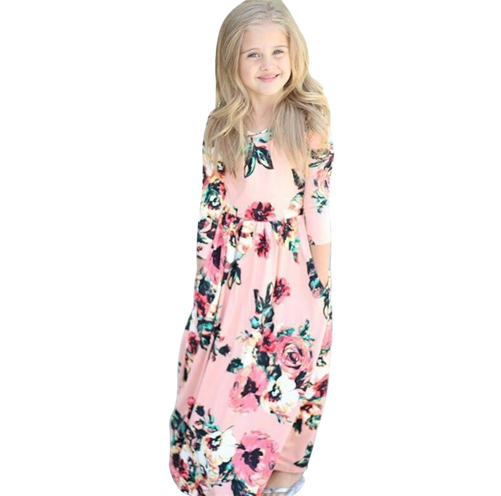 2018 Kids Dresses Children Girls Long Sleeve Floral Princess Dress Spring Girl Beach Floral Dresses Kids Party Dresses