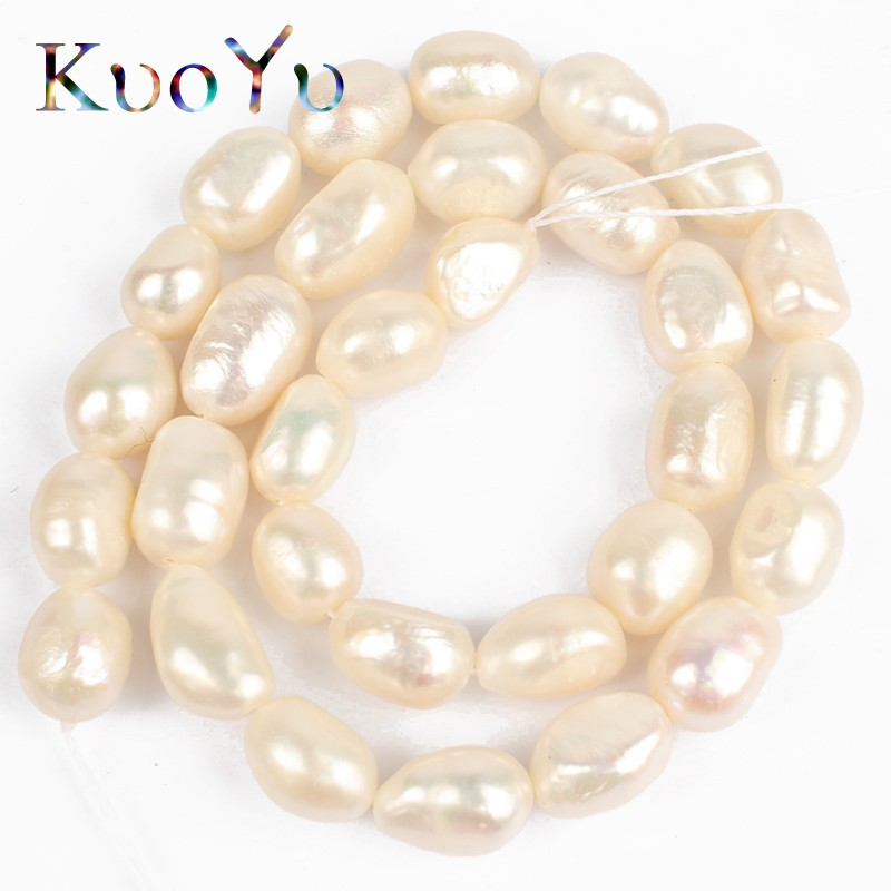 """10-12mm AAA White Irregular Pearl Natural Round Freshwater Pearl Loose Beads For Strand 15"""" DIY Making Bracelet Necklace Jewelry"""