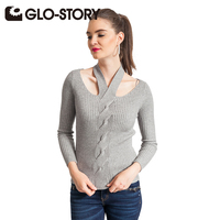 GLO STORY Fashion Sweater for Women 2018 New Autumn and Winter Long Sleeves Chic Jumper Slim Sweaters Pullover Female 4963