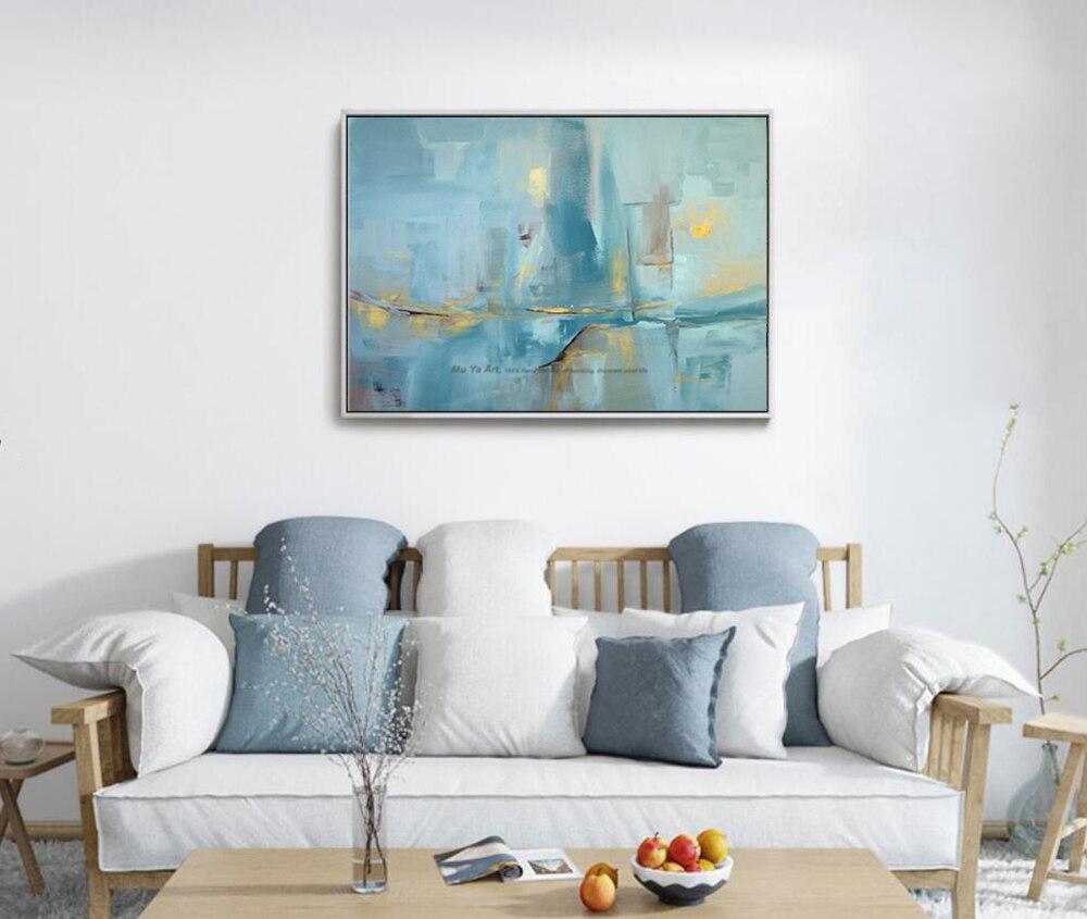 43 75 20 De Réduction Abstrait Moderne Toile Mur Fait à La Main Contemporain Célèbre Artiste Bleu Paysage Marin Peinture à L Huile Sur Toile Pour