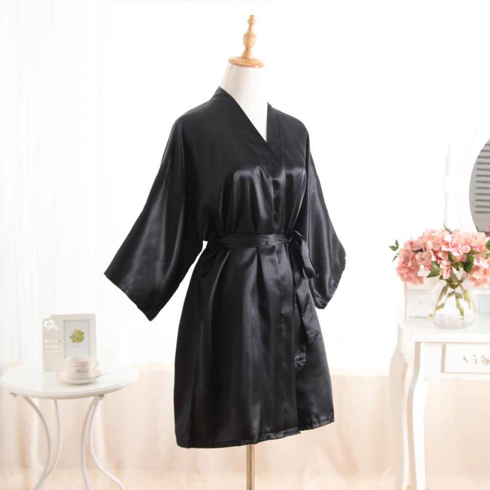57cea10a8d ... Women Silk Bridesmaid Bride Robe Sexy Short Satin Wedding Kimono Robes  Sleepwear Nightgown Dress Woman Bathrobe ...