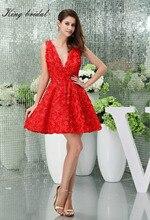 2017 rote Spitze Sexy V-ausschnitt Kurzen Mini Lässig Brautkleider Design Einfache Zipper Zurück Sleeveless Homecoming Cocktail Party Kleid