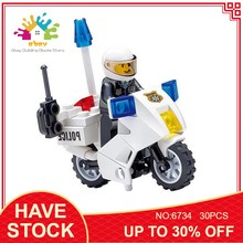 Kazi City Police Playmobil Motorcycle Car Building Blocks Diy Model Kit Compatible Legoing Techinic Bricks Toys for Children(China)