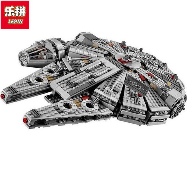 New LEPIN 05007 1381pcs Building Blocks Star Wars Force Awakens Millennium Falcon Model Kits Rey BB-8 Educational DIY toys 10467 star wars 7 darth vader millennium falcon figure toys building blocks set marvel kits rey bb 8 compatible toy gift many types