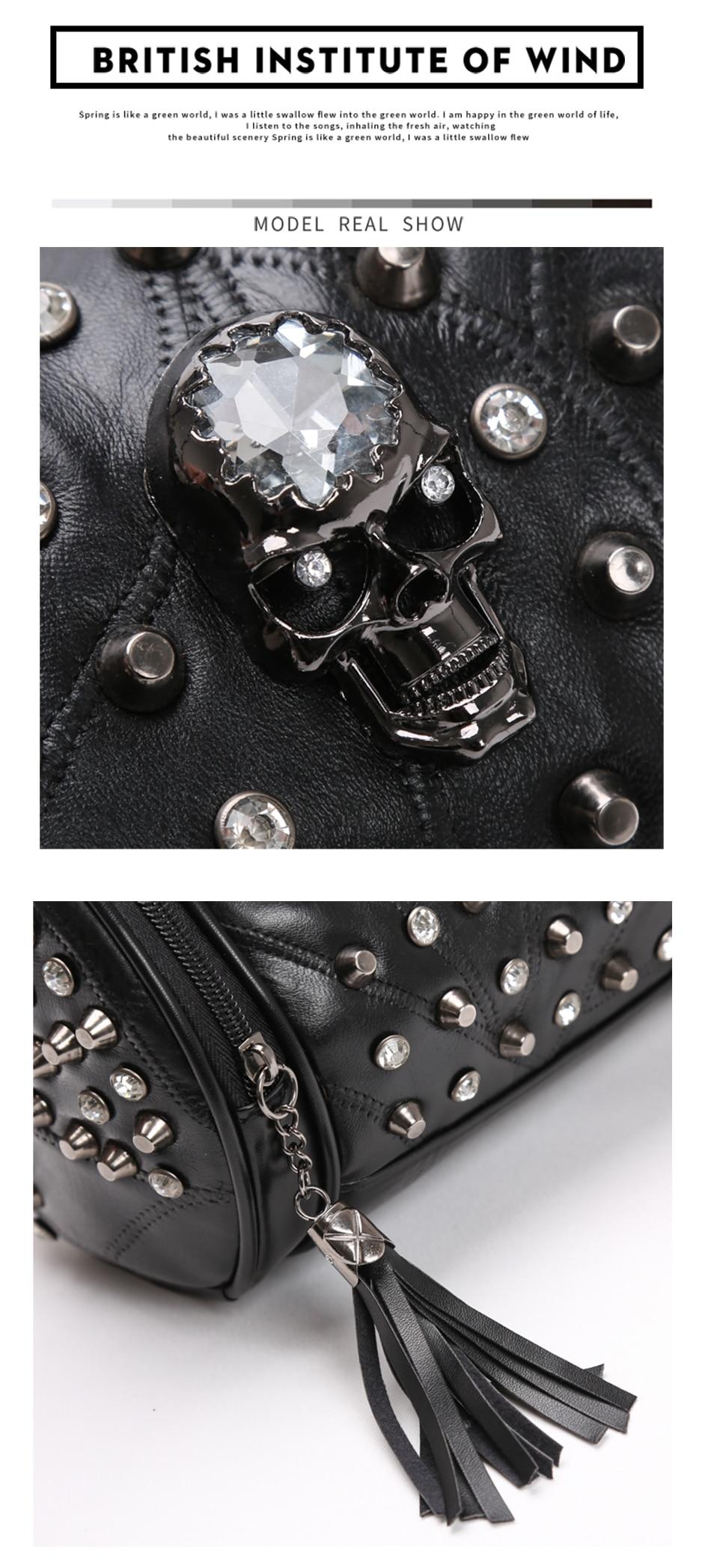 luxo rock rebite punk bolsa de ombro