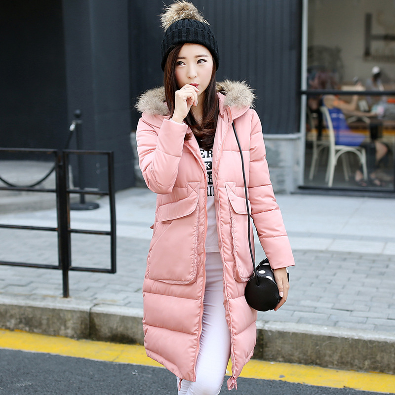 2016 Fall New Korean Slim Down Jacket Lady The Long Section Cotton Padded Wool Collar High