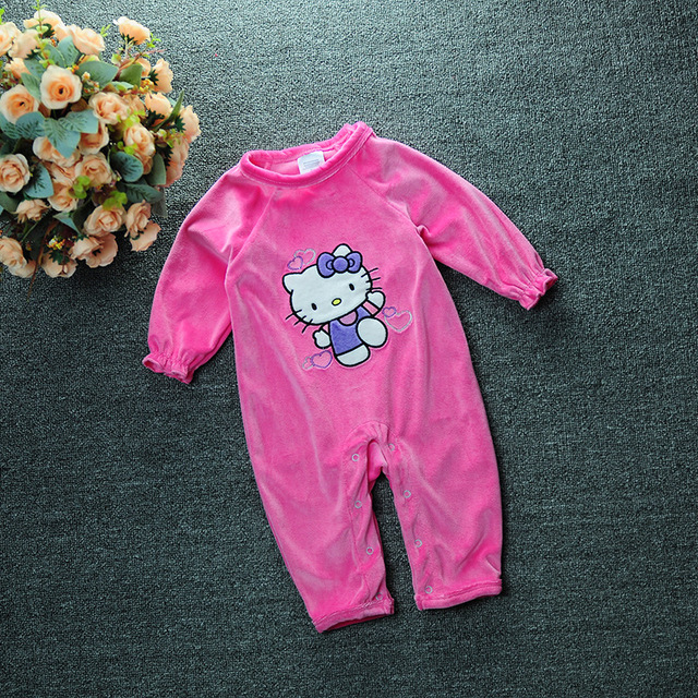 07a4f17c1 Hello Kitty outfits baby romper rose red velvet overalls jumpsuit girl  newborn baby one pieces KT long climb clothes for girl