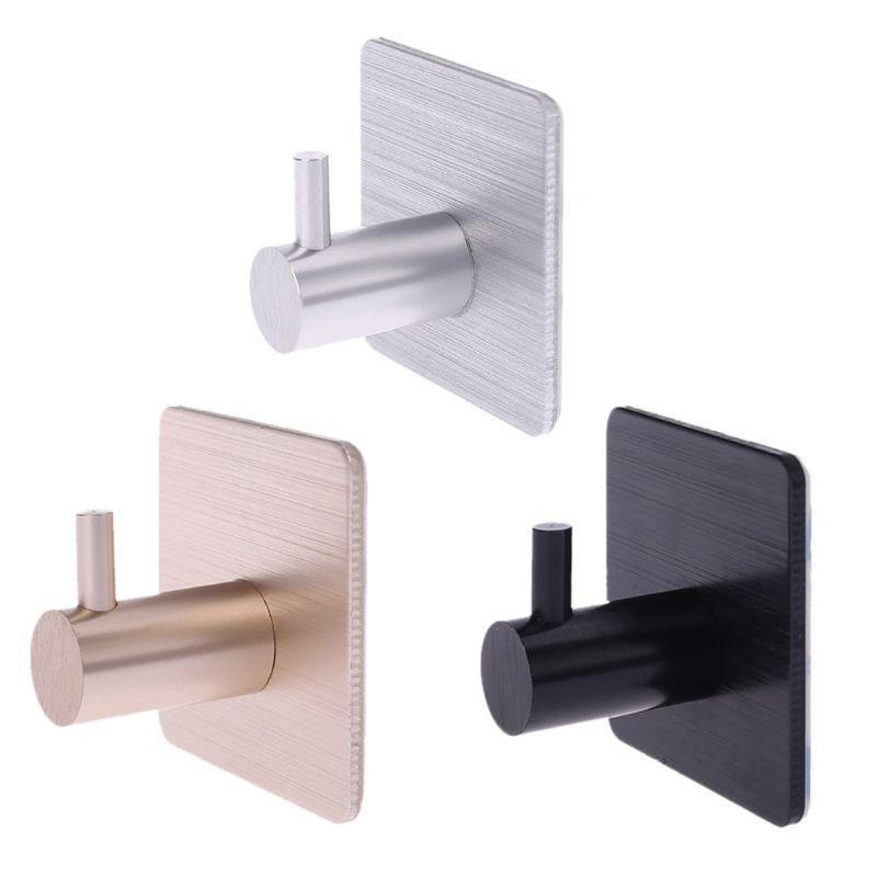 1PCS Self Adhesive Home Kitchen Wall Door Hook Key Rack Kitchen Towel Hanger Aluminum
