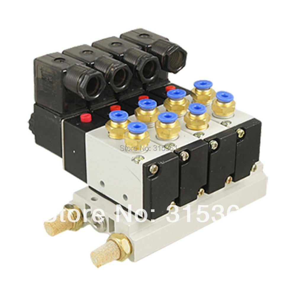 Free Shipping 10Sets/Lot 4V210-08 AC 110V 2 Position 5 Way 4 Solenoid Valve Connected Base Muffler or AC220V VOLT