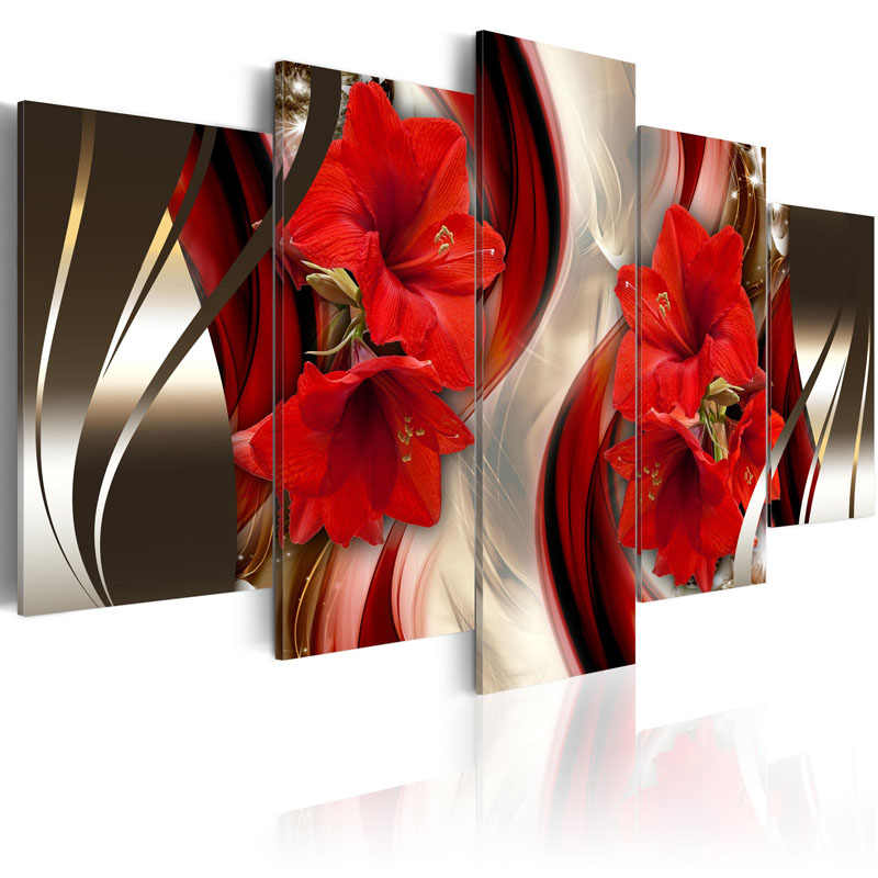 Framed 5 Panel Red flower Wall Art Oil Painting On Canvas Printed Painting Pictures Decor painting living room /PJMT-9