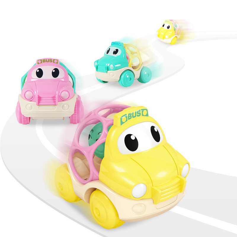 Soft Rubber Baby Rattle Crib Mobile Cartoon Inertia Toy Car Educational Infant Newborn Baby Toys  0-12 Months Kids Developmental