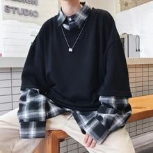 2018 秋の新メンズ綿偽ツーピースシャツの襟カジュアルプルオーバー潮白/黒サイズ M 2XL
