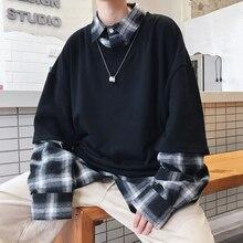 Jersey informal de algodón para hombre, camisa falsa de dos piezas con cuello, color blanco/Negro, talla M 2XL, novedad de Otoño de 2018