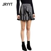 JRYYT Kadınlar Moda Dönüş Antik Nazik Mini Etek Tiki Tarzı Ekose Bud Etekler Draped Lace Up İmparatorluğu Joker Etek